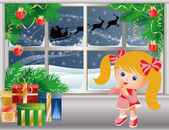 Christmas story, Little girl looks out of the window on Santa Claus. vector — Stok Vektör