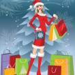 Christmas shopping card with Santa girl. vector — Stock Vector