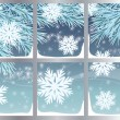 Stock Vector: Winter background with snowflakes, vector illustration