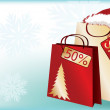 Christmas shopping sale banner with santa claus hat. vector — Vector de stock #4264147