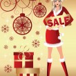 Santa girl and christmas sale. vector illustration — Stock Vector