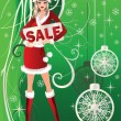 Christmas sale card with Santa girl , vector illustration — Stock Vector