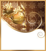 Christmas greeting card with golden balls. vector illustration — Stock Vector