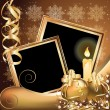 Royalty-Free Stock Vector Image: Christmas golden frame , vector illustration