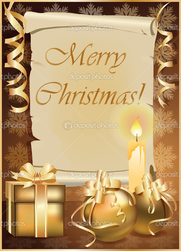 Golden Christmas background with candle. vector illustration  Stock Vector #4328129