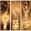 Набор Золотое Рождество баннер. Векторные иллюстрации — Cтоковый вектор