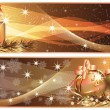 Stock Vector: Golden Christmas horizontal banners. vector illustration