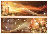 Golden Christmas horizontal banners. vector illustration — Vettoriale Stock