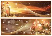 Golden Christmas horizontal banners. vector illustration — Stock Vector