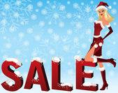 Jul försäljning bild med santa flicka. vektor illustration — Stockvektor