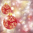 New year greeting card with christmas balls. vector illustration - Stock Vector