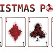 Royalty-Free Stock Vector Image: Christmas poker cards with snow. vector illustration