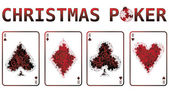 Christmas poker cards with snow. vector illustration — Stock Vector