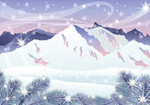Christmas card. Winter mountain landscape. vector — Stockvektor