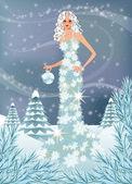 Zima dziewczyna. Ilustracja wektorowa — Wektor stockowy