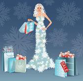 Christmas sale greeting card. Shopping winter girl. vector — Stock Vector