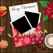 Christmas card with two framework for photo. vector — Stockvectorbeeld