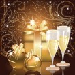 Stockvector : Christmas greeting card, Champagne with xmas ball. vector illustration