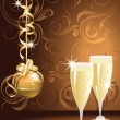 Christmas greeting golden card with champagne. vector illustration — Stock Vector
