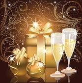 Christmas greeting card, Champagne with xmas ball. vector illustration — Stockvektor