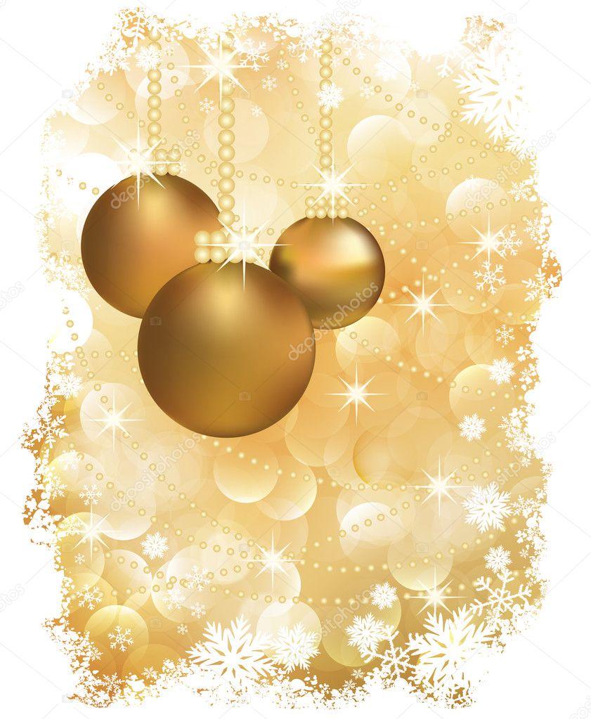 Tarjeta de felicitaci n de a o nuevo con bolas de navidad - Bolas de navidad doradas ...