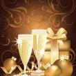 Christmas golden background with champagne and pearls. vector illustration — Stock Vector