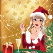 Santa girl plays poker. Christmas casino background. vector — Imagen vectorial