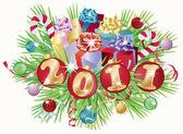 2011 新年の招待カード、ベクトル イラスト — ストックベクタ