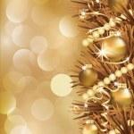 Winter golden banner, vector illustration — Stock Vector #4576390