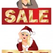 Winter sale banner with girl. vector illustration — Stock Vector