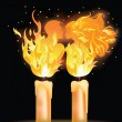 Fire kiss. Love card for valentines day. vector illustration — 图库矢量图片