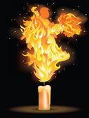 Dança de fogo. cartão para o dia do casamento ou o dia dos namorados. ilustração vetorial — Vetor de Stock