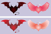 Angel and devil hearts, vector illustration — Stock Vector