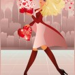 Vakentines day card. The young woman goes on a city and bears heart. vector - Stockvectorbeeld