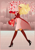 Vakentines day card. The young woman goes on a city and bears heart. vector — Stock Vector