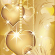 Golden love card, vector illustration — Stock vektor