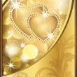 Beautiful Golden Background with Two Hearts, vector illustration — Image vectorielle