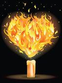 Fire heart. vector illustration — Stock Vector