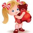 Little girl with teddy bear and heart. vector illustration — Stock Vector #4809011
