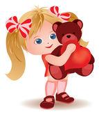 Little girl with teddy bear and heart. vector illustration — Stock Vector
