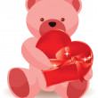 Stock Vector: Teddy bear holding red heart. vector illustration