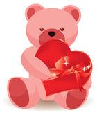 Teddy bear holding red heart. vector illustration — Stock Vector