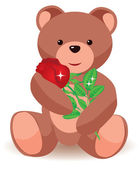 Teddy bear holding red rose. vector illustration — Stock Vector