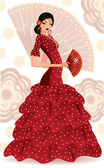 Spanish flamenco dancer. vector illustration — Cтоковый вектор