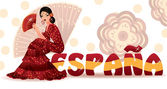 Spanish girl with fan in style flamenco. vector illustration — Stok Vektör