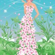 Spring girl. vector illustration — Stock Vector