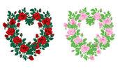 Vector illustration of red roses heart frame — Stock Vector