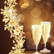Golden love card with champagne. vector illustration — Imagen vectorial