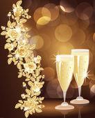 Gouden liefde kaart met champagne. vectorillustratie — Stockvector