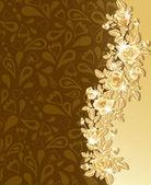 Tarjeta de felicitación con hermosas rosas de oro, ilustración vectorial. — Vector de stock